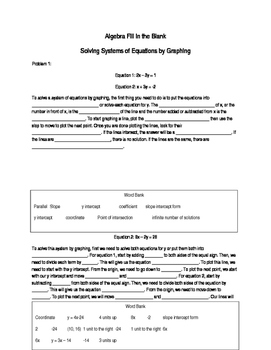 Algebra Fill in the Blank - Solving Systems of Equation by Graphing