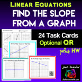 Linear Equations Find the Slope from a Graph Task Cards QR
