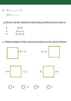 Algebra First Grade Math