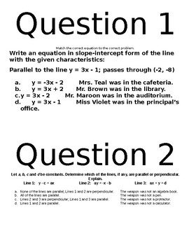 Algebra First Semester Review Clue Game