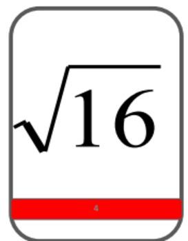Algebra Flash Cards:  Square Roots