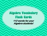 Algebra Flash Cards for High School Students