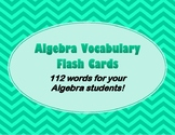 Algebra Flash Cards for High School Students