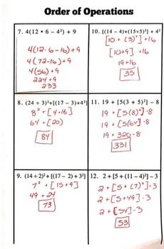 Algebra Foldable: Order of Operations