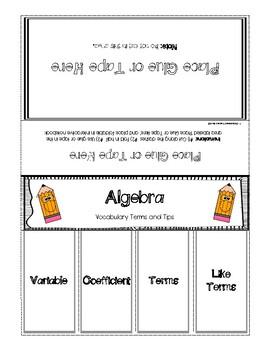 Algebra Foldable Vocabulary Terms, Explanations, and Examples - Includes Key