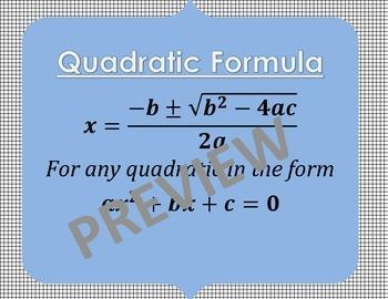 Algebra Formula Posters