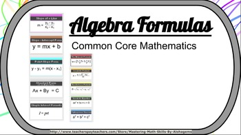 Algebra Formulas Common Core Mathematics Wall
