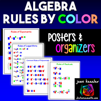 Algebra  Formulas by Color Interactive Notebook Pages - Graphic Organizer