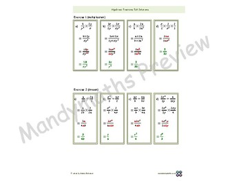 Algebra Fractions Animated PowerPoint + exercises, full solutions, handout