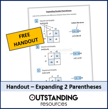 Algebra: Free help sheet for expanding double parenthesis