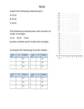 Algebra - Function Table Quiz