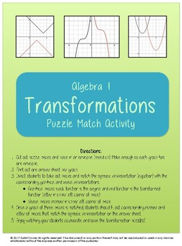 Algebra Function Transformations Puzzle Match Activity