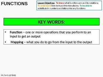 Algebra: Functions 1 - Basic Functions / Introduction