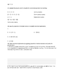 Algebra & Functions 7.1.3 Worksheet