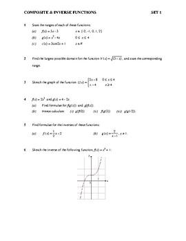 Algebra: Functions - composite functions worksheet