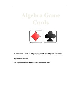 Algebra Game Cards