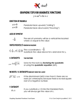 Algebra Game - Graphing Quadratic Functions (CCSS / Logical Reasoning)
