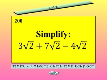 Algebra Games {Square Root Activity} {Simplifying Radical Expressions Activity}