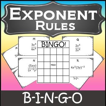 Laws of Exponents Activity {Algebra Bingo} {Algebra Games}