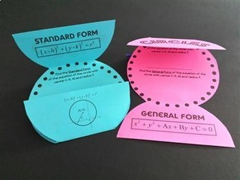 PreCalculus Algebra 2 -  Circles Task Cards plus Foldable