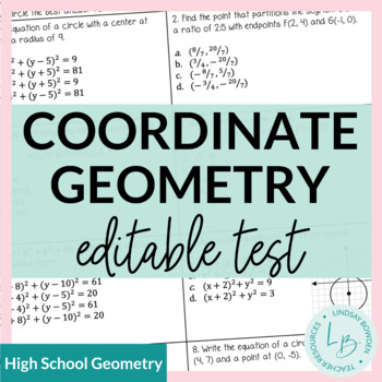 Algebra/Geometry Connections Study Guide and Test