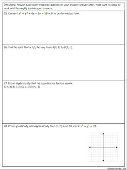 Algebra and Geometry Connections Test with Study Guide