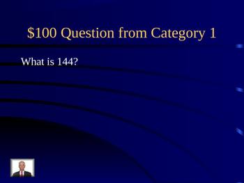 Algebra Geometry Math Jeopardy games  Equations Vocabulary Perfect Squares