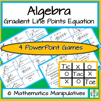 Algebra Gradient Line Points Equation Tic Tac Toe PowerPoint Games