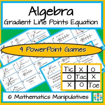 Algebra Gradient Line Points Equation Tic Tac Toe PowerPoint Games