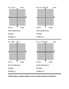 Algebra 2 Graph Absolute Value Functions Worksheet