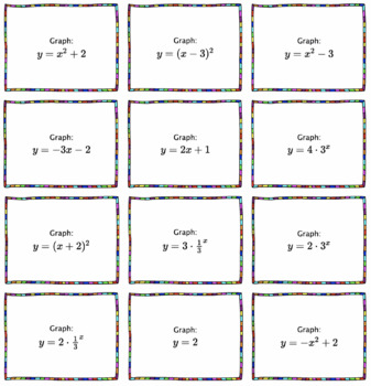 Algebra: Graphing Transformations Math Memory Game
