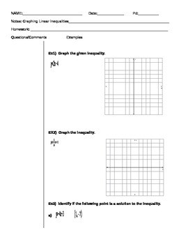 Algebra Graphing Inequalities Notes