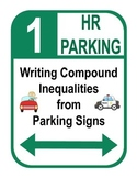"""Algebra: Graphing and Writing Compound Inequalities """"Parking Sign"""" Activity"""