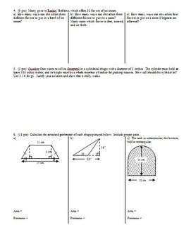 Algebra Group Practice Test Data Probability and Geometry Spring 2010 (Editable)