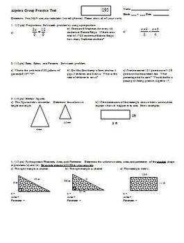 Algebra Group Practice Test Fall 2008 (Editable)