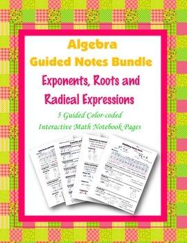 Algebra Guided Interactive Math Notebook (Bundle): Exponen