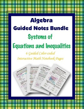 Algebra Guided Interactive Math Notebook (Bundle): Systems of Equations