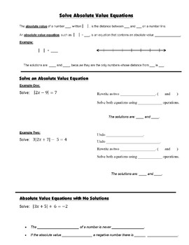 Algebra Guided Interactive Math Notebook Page: Absolute Value Equations