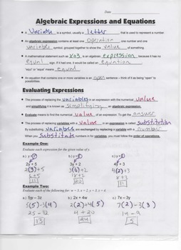 Algebra Guided Interactive Math Notebook Page: Algebraic Expressions