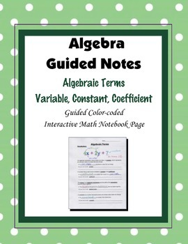 Algebra Guided Interactive Math Notebook Page: Algebraic Terms  Vocabulary