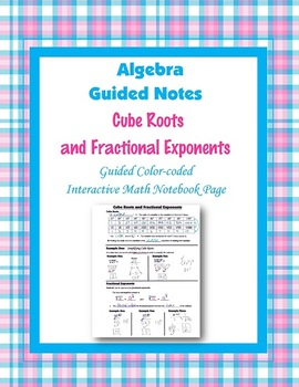 Algebra Guided Interactive Math Notebook Page: Simplifying Cube Roots.
