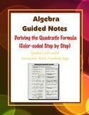 Algebra Guided Interactive Math Notebook Page: Deriving the Quadratic Formula