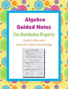Algebra Guided Interactive Math Notebook Page: Distributive Property