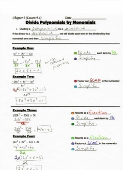 Algebra Guided Interactive Math Notebook Page: Dividing Polynomials