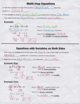 Algebra Guided Interactive Math Notebook Page: Multi-step Equations