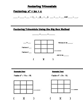 Algebra Guided Interactive Math Notebook Page: Factoring Trinomials, x^2+bx +c