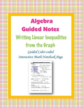 Algebra Guided Interactive Math Notebook Page: Writing Linear Inequalities.