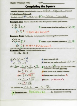 Algebra Guided Interactive Math Notebook Page: Completing the Square