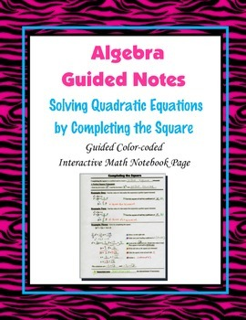 Algebra Guided Interactive Math Notebook Page: Completing