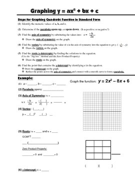 Algebra Guided Interactive Math Notebook Page: Graphing Quadratic Functions